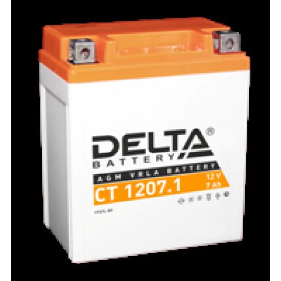 Аккумулятор DELTA CT1207.1, YTX7L-BS, Д*Ш*В 114*70*132
