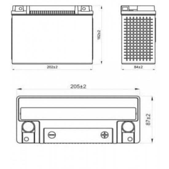 Аккумулятор DELTA EPS1220, YTX24HL-BS, YTX24HL, Д*Ш*В 205*87*162