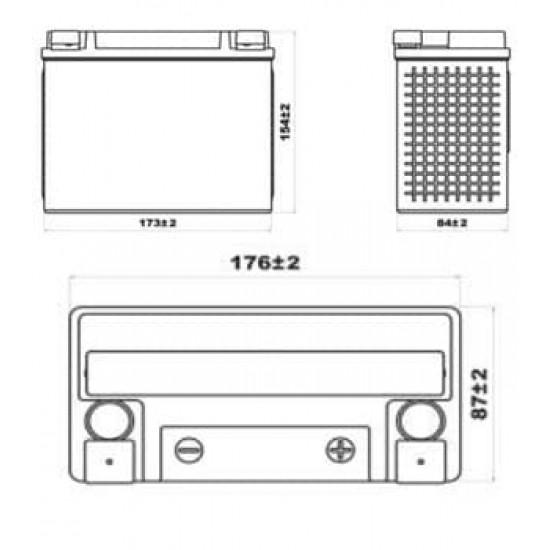 Аккумулятор DELTA EPS12201 YTX20HL-BS, YTX20L-BS, Д*Ш*В 176*87*154