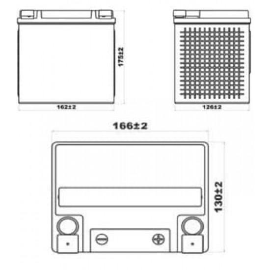 Аккумулятор DELTA EPS1230, YTX30HL-BS, YTX30L-B, YTX30L, Д*Ш*В 166*130*175