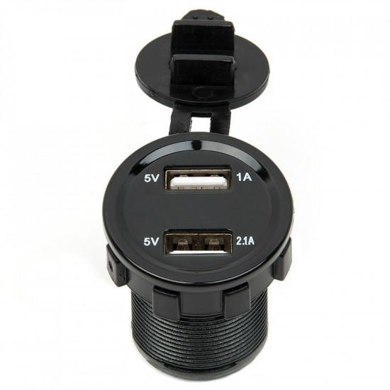 USB прикуриватель врезной с красной подсветкой с вольтметром