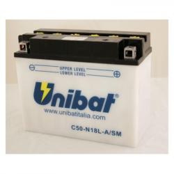 Аккумулятор UNIBAT C50-N18L-A-SM (12V, 20AH, 205 X 90 X 162), АНАЛОГ YUASA Y50-N18L-A