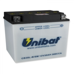 Аккумулятор UNIBAT CB30L-В-SМ (12V, 30AH, 168 X 132 X 176), АНАЛОГ YUASA YB30L-B