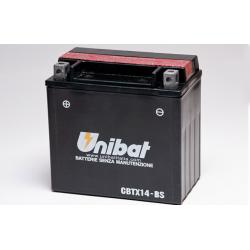 Аккумулятор UNIBAT CBTX14-BS (12V, 12AH, 150 X 87 X 145), АНАЛОГ YUASA YTX14-BS