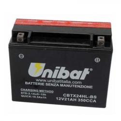 Аккумулятор UNIBAT CBTX24HL-BS (12V, 21AH, 205 X 87 X 161), АНАЛОГ YUASA YTX24HL-BS