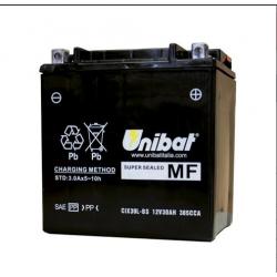 Аккумулятор UNIBAT CIX30L-BS (12V, 30AH, 166 X 126 X 175), АНАЛОГ YUASA YIX30L-BS