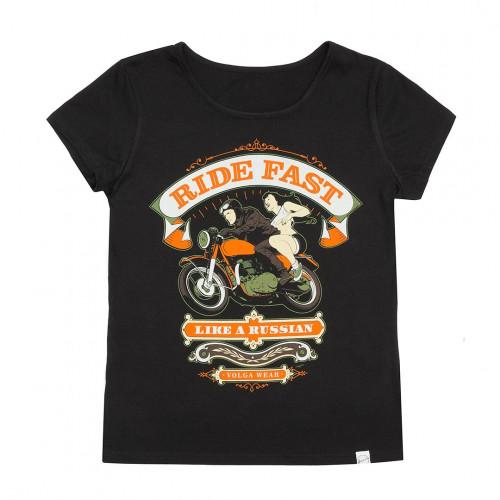 """Футболка женская """"Ride fast"""" черная"""
